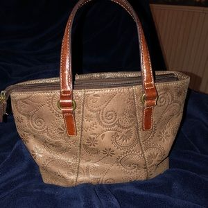 Embossed Leather Fossil Tote
